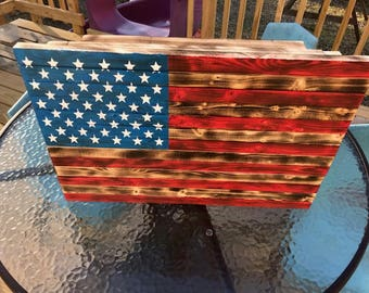 Wood American Flag Hand Painted, Distressed Wood, Hidden Compartment, Flag  Art, American Flag Hidden Compartment, Gift, Hidden Gun Storage