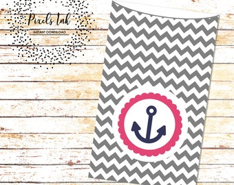 Goody Bags | Nautical Birthday Party | Chevron Party Sacks | Birthday Party Favors | Dessert Table Bags | Anchor Clipart | Instant Download