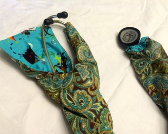 REVERSIBLE- Paisley and pirate stethoscope cover