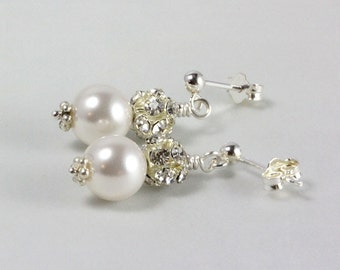 White Swarovski Pearl Crystal Earrings, Bridal Earrings, Wedding Jewelry, June Pearl Birthstone