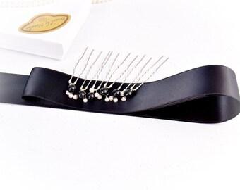 Set of Bridal Black Sash and Pearl Hair Pins - Swarovski Pearl Hair Pins - Black Wedding Sash - Black Pearl Hair Pins
