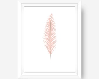 Coral Feather Print, Feather Wall Art, Pink Print, Pink Feather Wall Art, Coral Wall Art, Bohemian Wall Art, Printable, Digital Prints