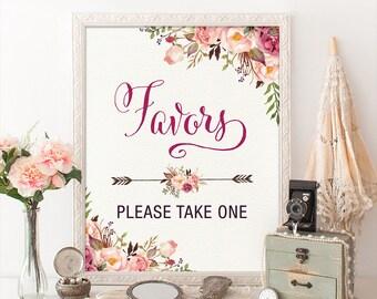 Favors Printable Sign. Floral Bohemian Bridal Shower Sign. Boho Decoration. Rustic Garden Flower Dessert Table. Favors Please Take One. FLO7