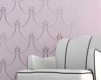 Modern Deco Pearls Damask Wall Stencil for a Regal Hollywood Glamour Feel