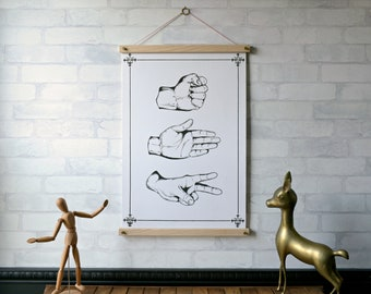 Rock Paper Scissors Chart / Pull Down Chart Vintage Reproduction / Canvas Fabric Print / Wood Poster Hangers / Wall Hanging / Framed Art