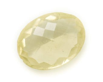 N31 - Cabochon stone - faceted yellow Topaz oval 20x14mm - 8741140019300