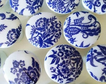 15OFF 8 Knobs hand decorated  drawer knobs; 8 blue toile- 1 1/2 inches Blue Floral Drawer Knobs- Shabby Chic toile