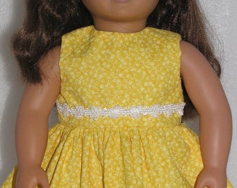 "Yellow Dress for 18"" Dolls. Made in USA fits American Girl, Our Generation Dolls"
