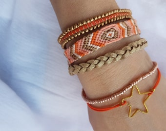 Star Gold and orange friendship Cuff Bracelet