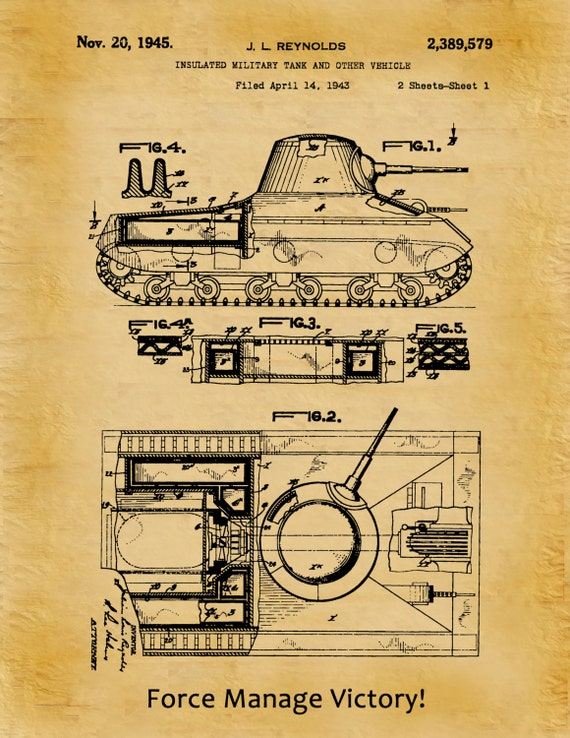 Patent 1945 Insulated Military Tank Patent Designed for the US