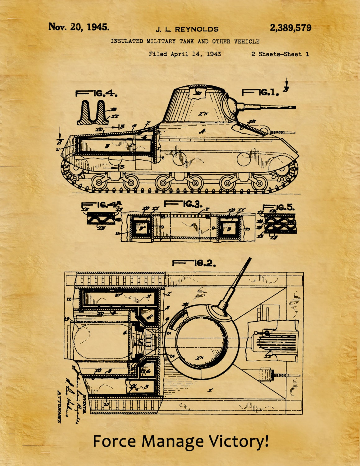 Patent 1945 Insulated Military Tank Patent Designed for the US ...