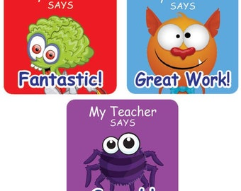 Teacher Merit Stickers - 25mm Square assorted images, Personalised Name