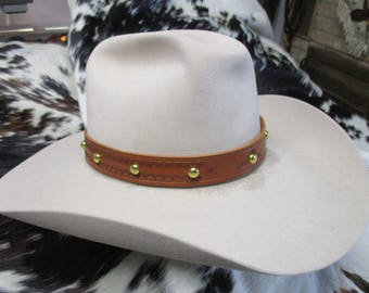 Handmade Leather Hat Band, Tooled Brown Leather Hat Band with Brass Dome Spots, Adjustable Hat Band, SASS Hat Band