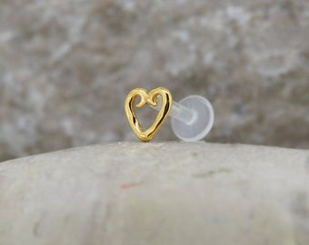 TRAGUS HEART 4mm, 16 gauge, BioFlex, yellow gold, tragus earring, labret stud, heart tragus, cartilage earring, helix, Sterling silver