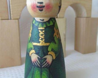 """Princess Peg Doll -watercolored large size 3.5"""""""