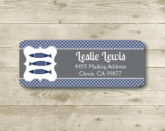 Out To Sea, Return Address Label, Personalized, MATTE, Blue, Fish