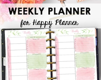 Weekly Happy Planner Printable, Weekly Planner Printable Happy Planner, 2018 Week Printables, 7 x 9, Week Planning Inserts, Planning Pages