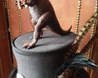 T Rex Dinosaur Steampunk Black Top Hat