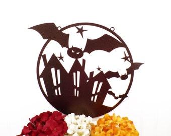 Halloween Flying Bats Circle Metal Sign - Copper, 15x12.5, Halloween Decor, Halloween, Halloween Decorations