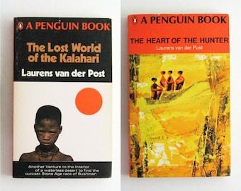 African Travel Adventure Books Vintage Orange Penguin Paperback Set Laurens van der Post - Lost World of the Kalahari - Heart of the Hunter
