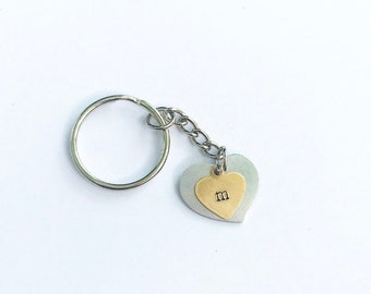 Customizable Keychain, Heart, Monogram, Personalized