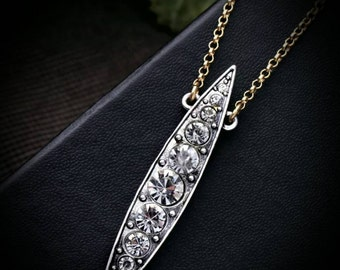 AfterLifeAccessories: Handmade & Repurposed Brass Chain Clear Rhinestone Silver Pendant Necklace