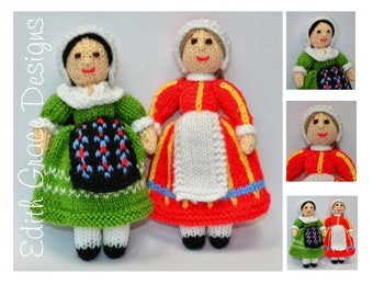 Folk Toy Knitting Pattern, France Denmark Doll, Folk Dress, Folk Doll Knitting Pattern, Knit Doll, French, Knit Toy, Rag Doll Pattern