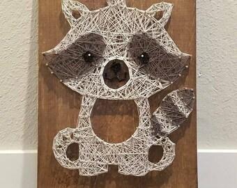 String Art Woodland Raccoon