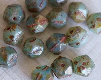 10mm English Cut Beads - Czech Glass Beads - Rustic Beads - Turquoise Opal Mix Picasso Chunky Beads - Nugget Beads - Bead Soup Beads