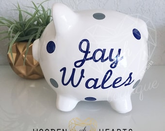Piggy Bank, Large BLUE Piggy Bank, Personalized Bank, Custom Bank, Navy Bank, Baby Boy, First Birthday, Baby Shower Gift, Piggy Bank,