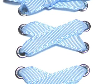 """THE SHOELACES SHOP-Light Blue Grosgrain Ribbon Shoelaces, Ribbon Shoe Laces, Blue Shoelaces, Grosgrain Shoelaces, Boot Laces, """"Baby Blue"""""""