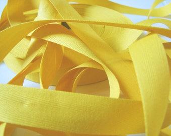 Ruban Sergé de coton Jaune Bouton d'Or au mètre