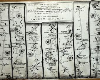 YORK To LANCASTER Via Ripley Skipton Settle Gardner Antique Strip Road Map 1719