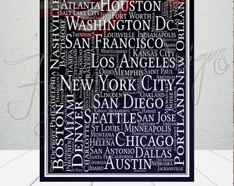 United States Wall Art, United States Print, USA Wall Art, Décor, Gift, Typography, Destination, Everything America