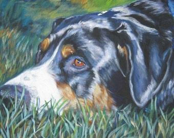 Greater Swiss Mountain Dog art print CANVAS print of LA Shepard painting 12x16