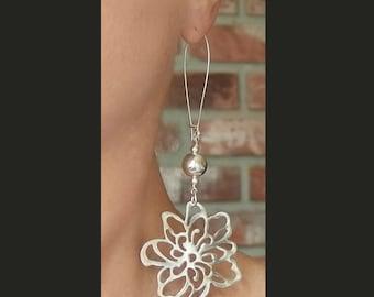 long sterling silver earrings flower pendant extra large boho botanical dangle floral drop organic feminine Bali bead statement ball round
