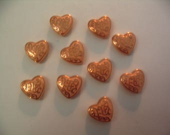 10  Vintage Lucite Copper Coated Heart Beads Jewelry Supplies