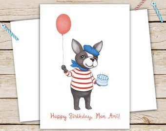 Happy Birthday, Mon Ami French Bulldog Birthday Card