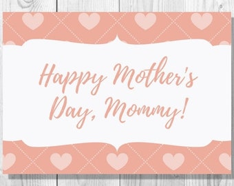 Pink Hearts Mommy Happy Mother's Day Card - Instant Download