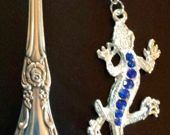 Handmade Rhinestone Lizard on Reclaimed Silverware Bookmark