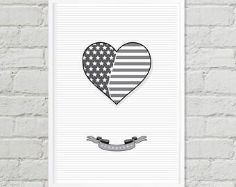 I Love USA, Wall Art, Digital Print, Poster, Art, Instant Poster Art, Digital Art, Independence day