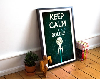 Star Trek Typography - Keep Calm & Boldly Go - Captains Oath - Kirk - Spock (Available In Many Sizes)