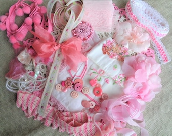 Inspiration Kit Shabby Bright Pink Vintage Ribbon Trim Millinery and More