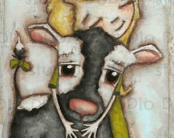 Druck von meiner Original Whimsical glückliches Mädchen und Kuh-Mixed-Media-Gemälde-Kuh Hugger