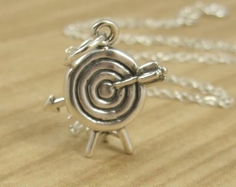 Archery Target Necklace, Sterling Silver Archery Charm on a Silver Cable Chain