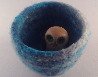 felted wool bowl, felted container, Eco friendly storage