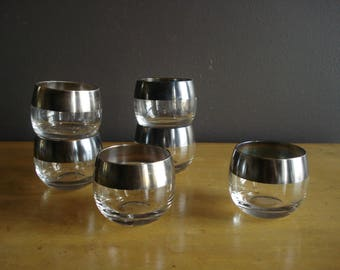 6 For Your Tonic and Gin - Vintage Set of 6 Small Dorothy Thorpe Style Roly Poly Barware Glasses