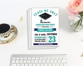 Printable Graduation Invitation, Graduation Party, Grad Party, Printable Invitation, High School Grad, College Graduation, Instant Download