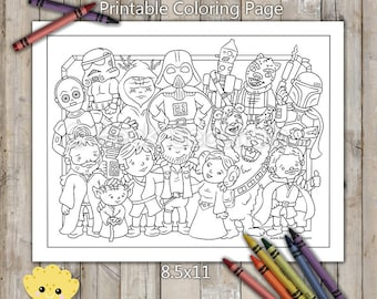 Star Wars Character Group Printable Coloring Page