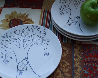 Christmas Gift, Holidays, Dessert dishes, Personalized Gift, Family Tree, plates, Apple Tree - Folk Gift set4 custom china plates